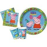 Ciao Y2528 - Kit Party Festa in Tavola Peppa Pig per 8 Persone (36 Pezzi: 8 Piatti, 8 Bicchieri, 20 Tovaglioli)