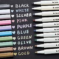 Ohuhu Metallic Markers Glitter Paint Pen Fine Tip, Set Of 10 Premium Window Marker For Diy Card Making, Coloring Books…