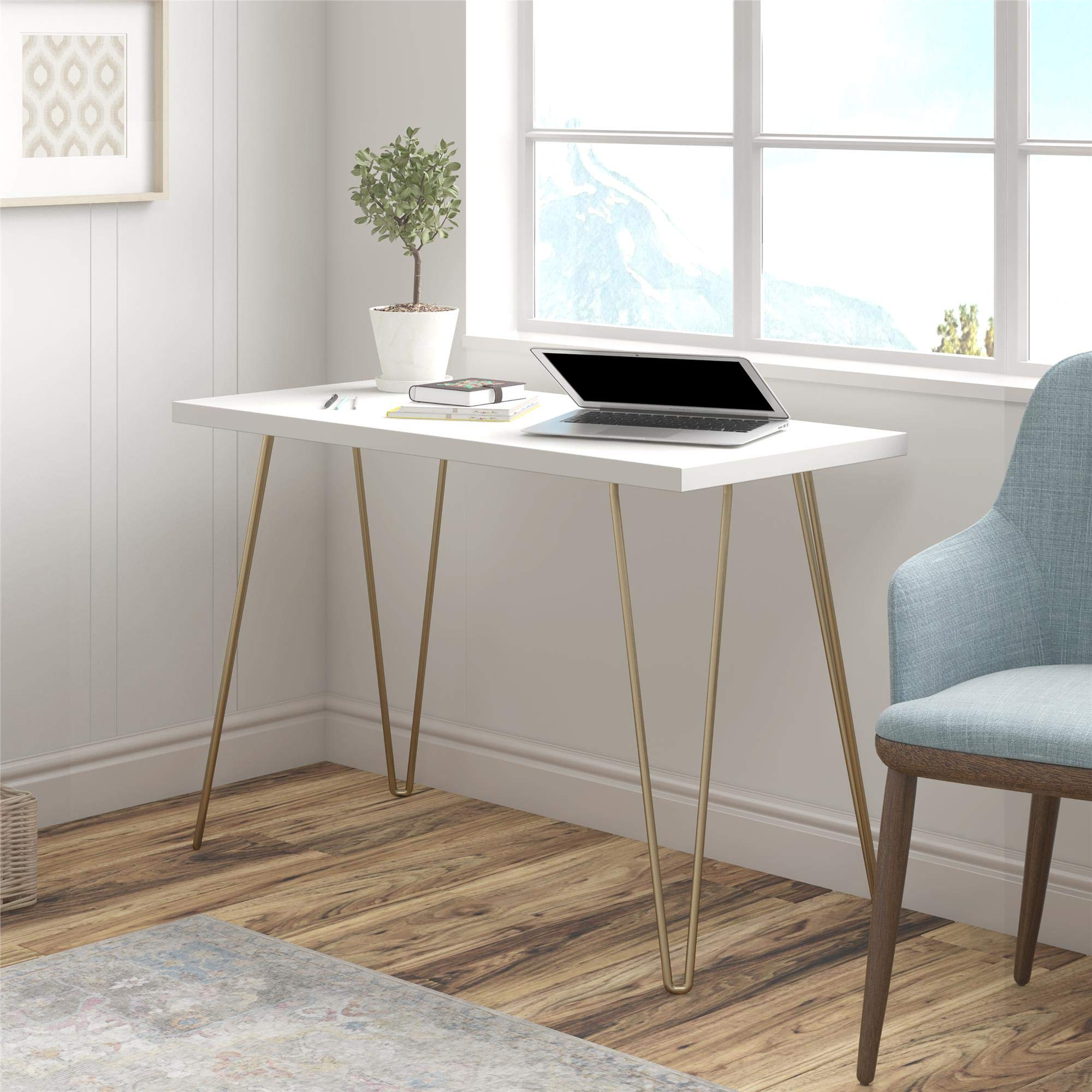 AmazonBasics Retro Hairpin Compact Computer Desk - Solid White with Matte Gold Legs by AmazonBasics (Image #2)