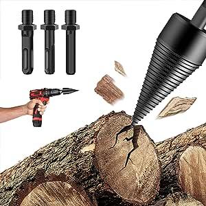 VARWANEO Upgraded Firewood Log Splitter Drill Bit Set, Firewood Drill Bit W/3pcs Heavy Duty Drill Screw Cone Driver, Wood Splitter Drill Bit for Hand Drill Stick (32mm)