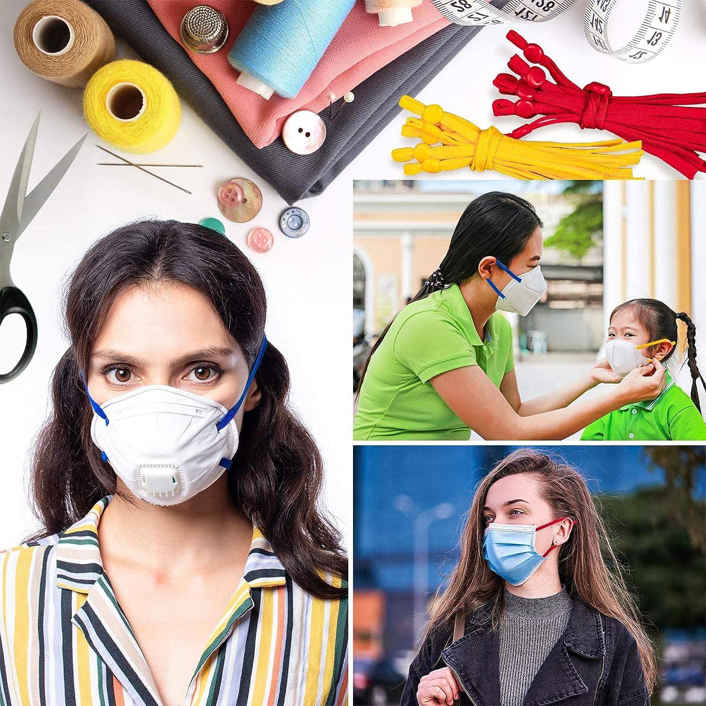 Lot de 60 Elastique pour masques Couture 5mm Bande /Élastique V/êtements et Accessoires pour la Couture Artisanat Bricolage,avec Pince-Nez Pont de Protection et boucle r/églable en silicone multicolore