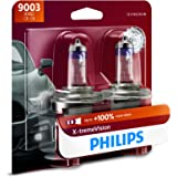 Philips Automotive Lighting 9003 X-tremeVision Upgrade Headlight Bulb with up to 100% More Vision, 2 Pack, 9003XVB2