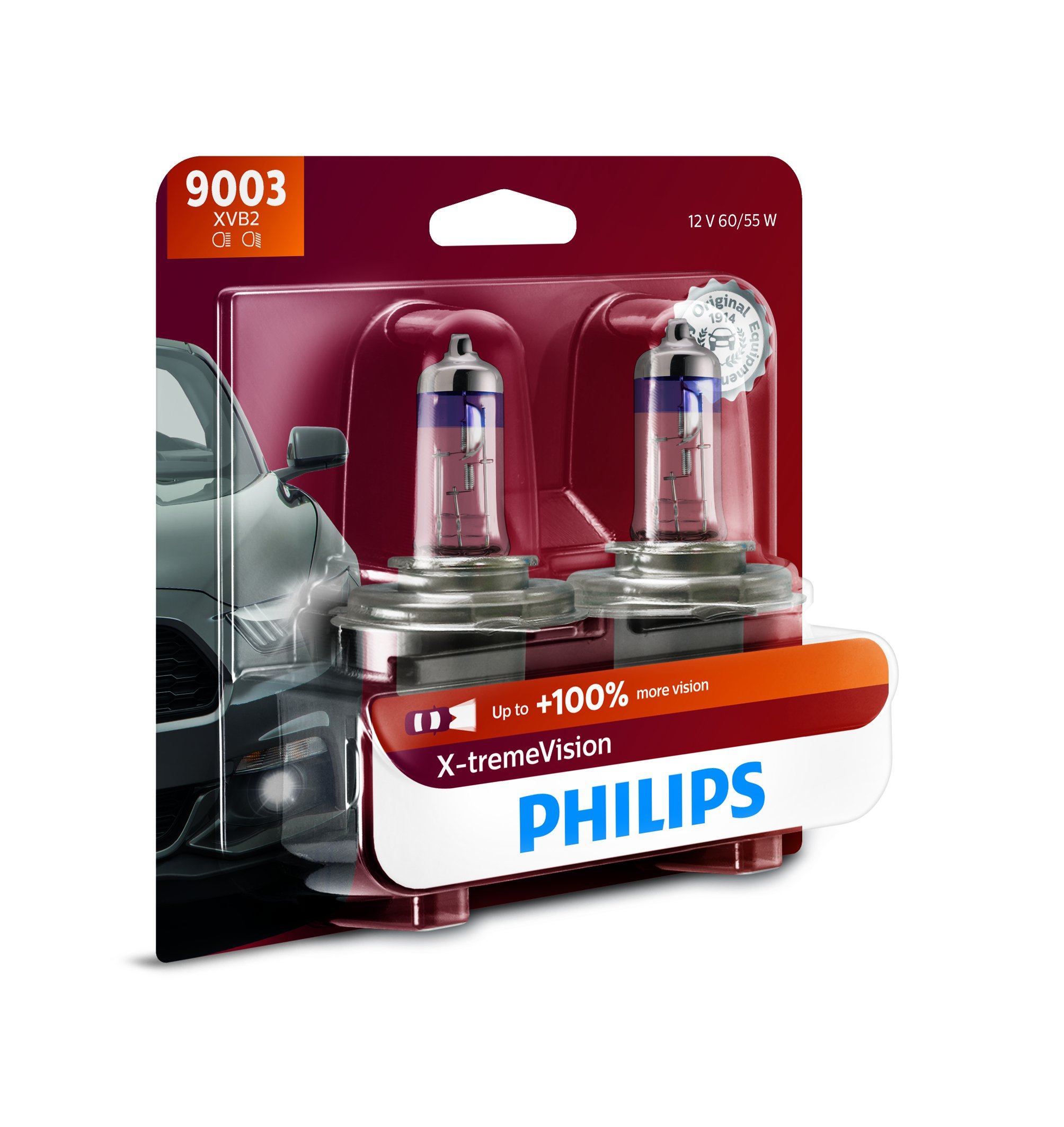 Philips 9003 X-tremeVision Upgrade Headlight Bulb with up to 100% More Vision, 2 Pack by PHILIPS