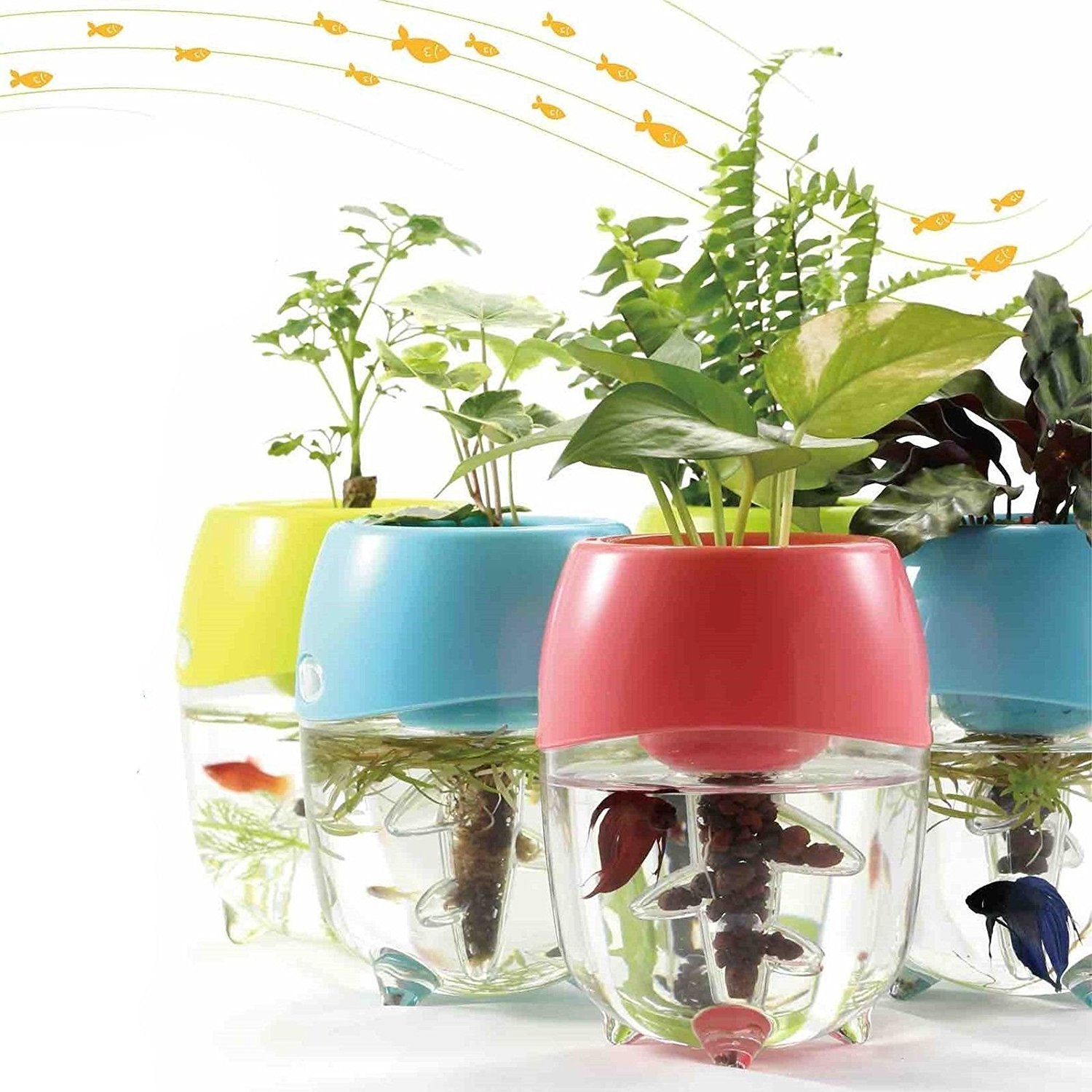Aquaponic Fish Tank Aquarium For Betta Fish With Water Garden Planter Top  Lid Natural Ecosystem For Plant Growth (Pink)
