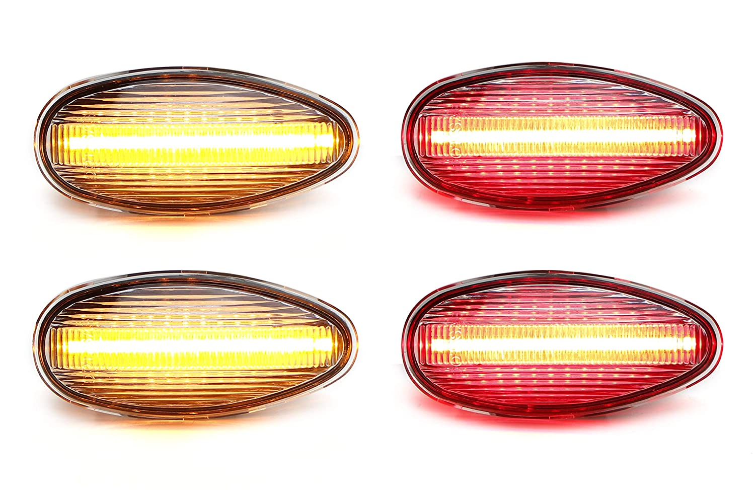 iJDMTOY Smoked Lens Amber//Red Full LED Trunk Bed Marker Lights Set For 2008-14 Chevy GMC 2500HD 3500HD Dually Truck Double Wheel Side Fenders Powered by Total 60 LED