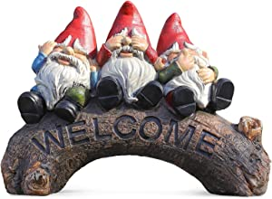 Garden Decor Outdoor Sculptures Statues Welcome Sign Figurine Gnomes Fairy Gardening Gifts for Christmas Yard Patio Outside Home
