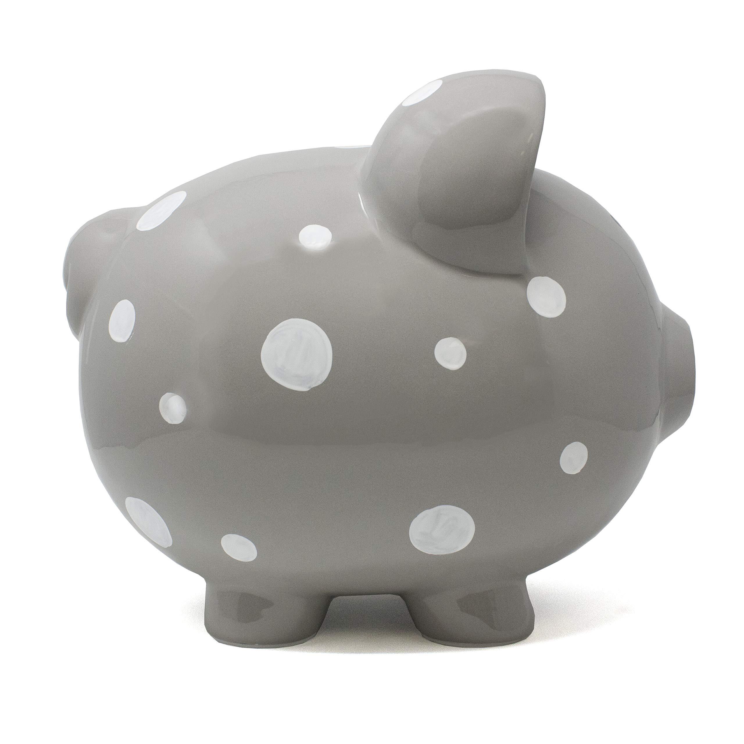 Child to Cherish Large Ceramic Boss Piggy Bank, Gray Polka Dot by Child to Cherish (Image #2)
