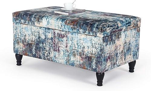 Best ottoman chair: Homebeez Velvet Storage Ottoman Bench Rectangular Footrest Stool