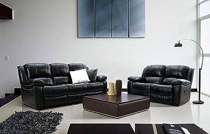 amazon com id 504rc top grain leather sofa set 3 pcs w power rh amazon com