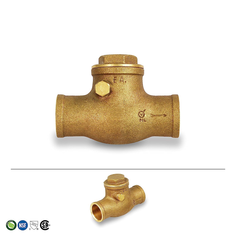 Everflow Supplies 210C012-NL Sweat Brass Swing  Check Valve 1//2 Inch Lead Free