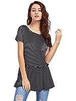 ROMWE Women's Casaul Ruffle Hem Peplum Top Striped Pocket Tee Shirt