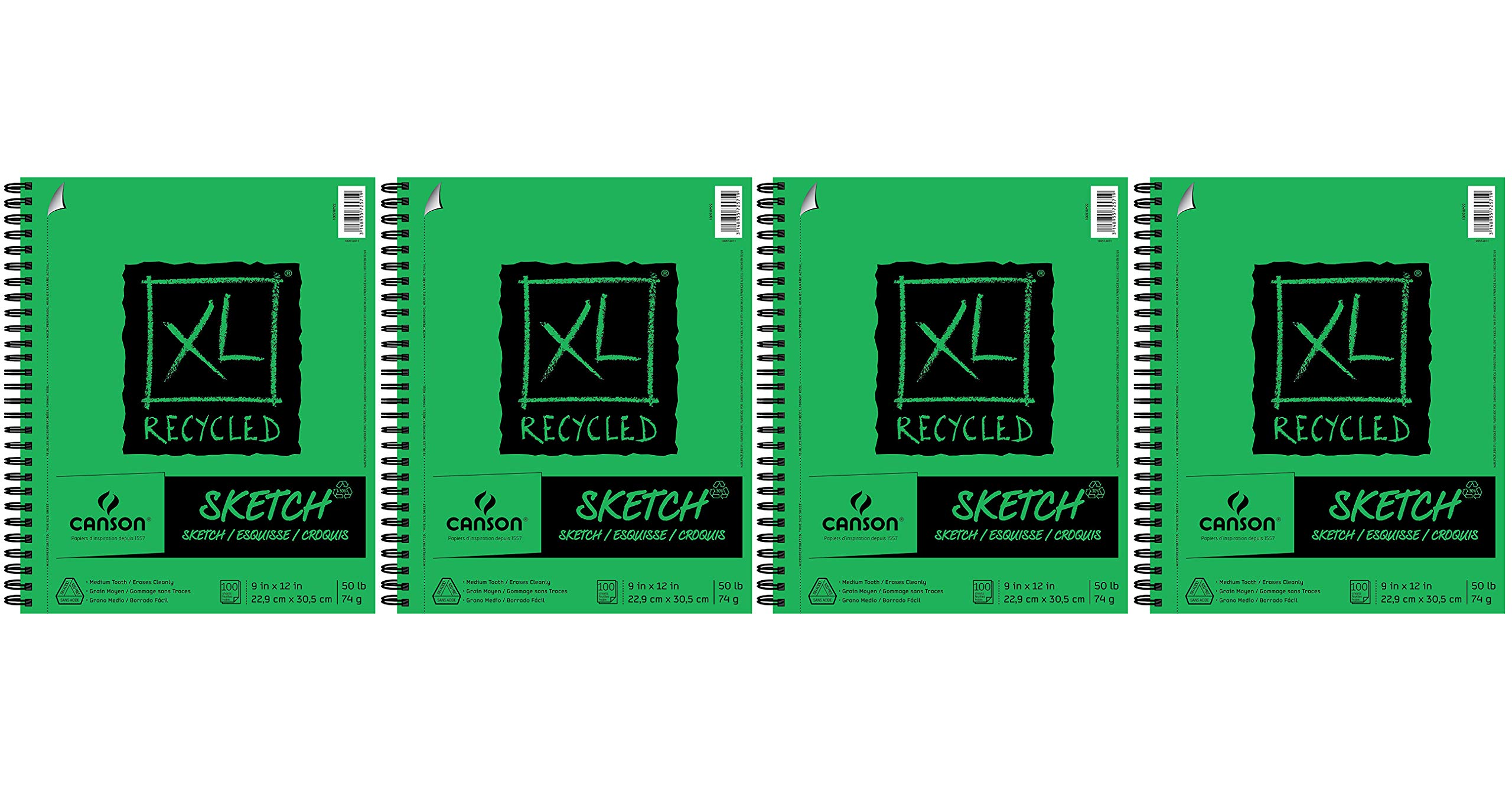 CANSON 100510922 XL Recycled Sketch Pad, 9''X12'' Side Wire (Fоur Paсk) by Canson