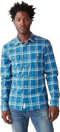 Lucky Brand Men's Long Sleeve Button Up Stretch Poplin Humboldt Workwear Shirt