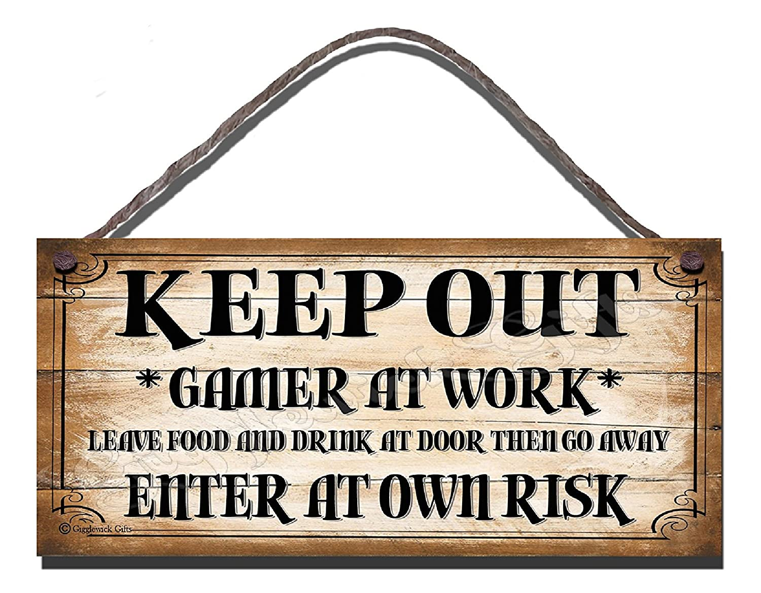 Keep Out, Gamer at Work Wooden Funny Sign