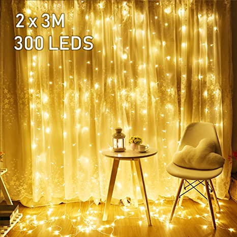 2M x 3M LED Lichtervorhang Avoalre 300 LEDs Lichterkette Vorhang mit Stecker 8 Modi Helles Warmweiß für Innen Außen Neujahr W