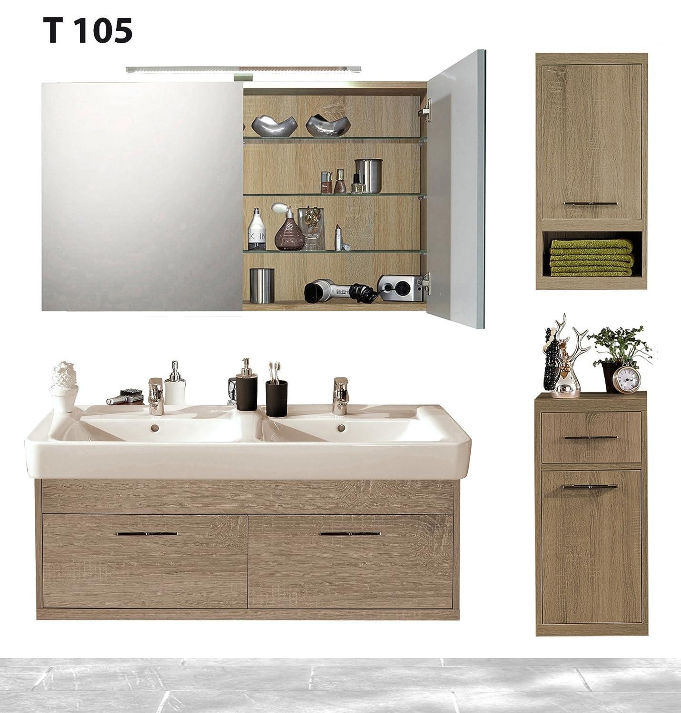 Badserie TIMBERY T105, Waschtisch, Spiegelschrank, Ober-u. Unterschrank in SOE