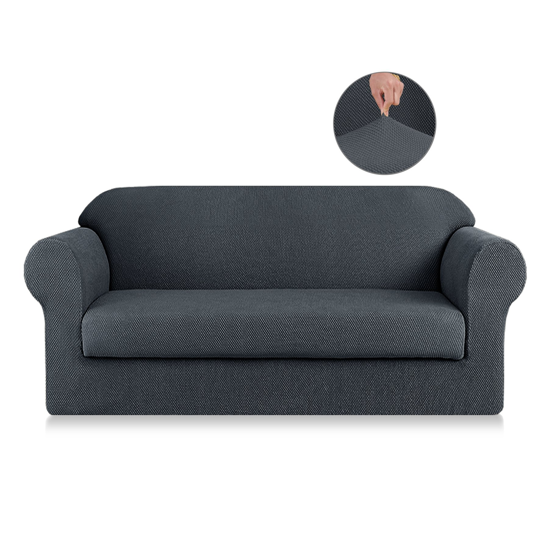 SyMax Jacquard Sofa Slipcovers 2-Piece Non Slip Sofa Seat Chair Covers Couch Furniture Protector for Children(Loveseat, Gray)