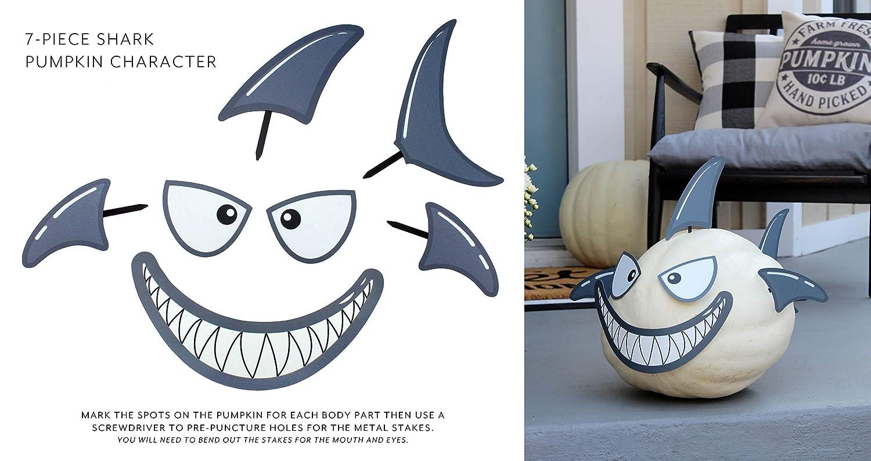 Decorae Pumpkin Kit Sets 13 Reusable Metal Accessories for Halloween Fall Pumpkin Face Decorating Shark and Dinosaur Theme