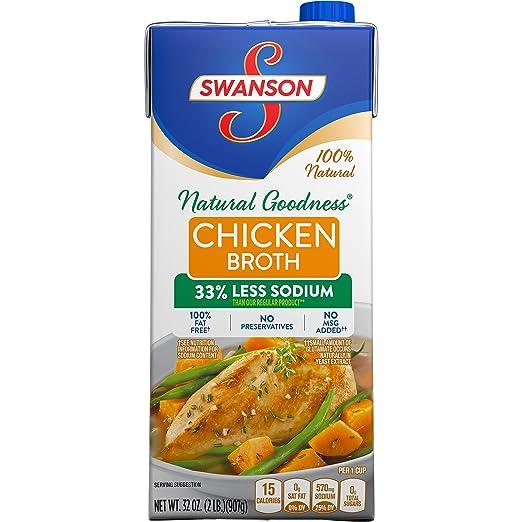 Swanson Broth, 33% Less Sodium, Chicken, 32 Ounce