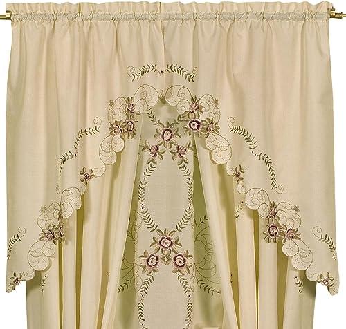 Today s Curtain Verona Reverse Embroidery Window Swag, 38-Inch, Ecru Rose