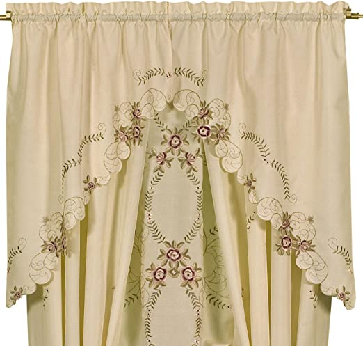 Pair of Beautiful Rose Embroidery Cutwork White Sheer Curtain Swags