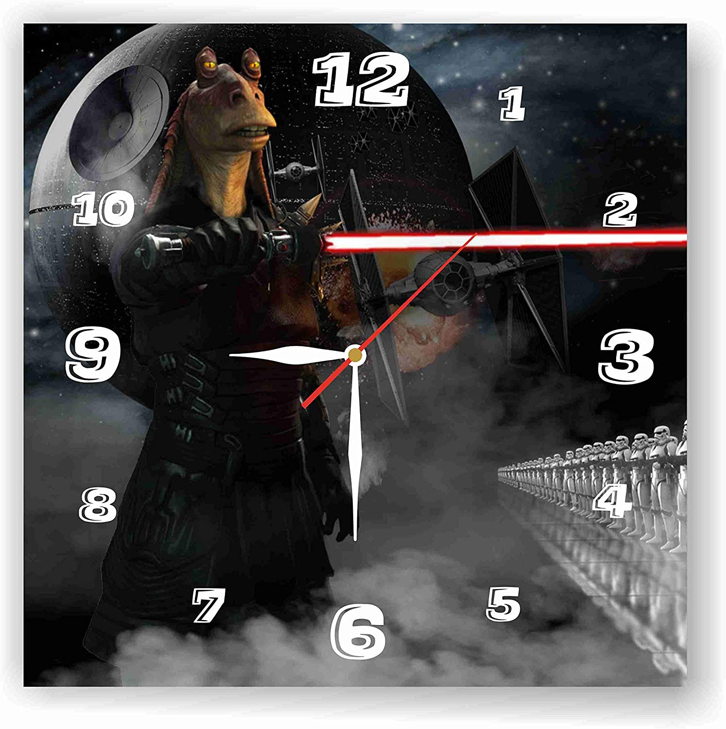Star Wars - JAR JAR Binks 11.8'' Handmade Wall Clock - Get Unique décor for Home or Office – Best Gift Ideas for Kids, Friends, Parents and Your Soul Mates