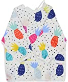 Pikababy Long Sleeved Bib Waterproof Bibs with Pocket - 6 to 24 Months Baby Girl and boy Colors (Pineapple)