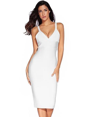 Women's Rayon Strap Midi Bandage Party Dress