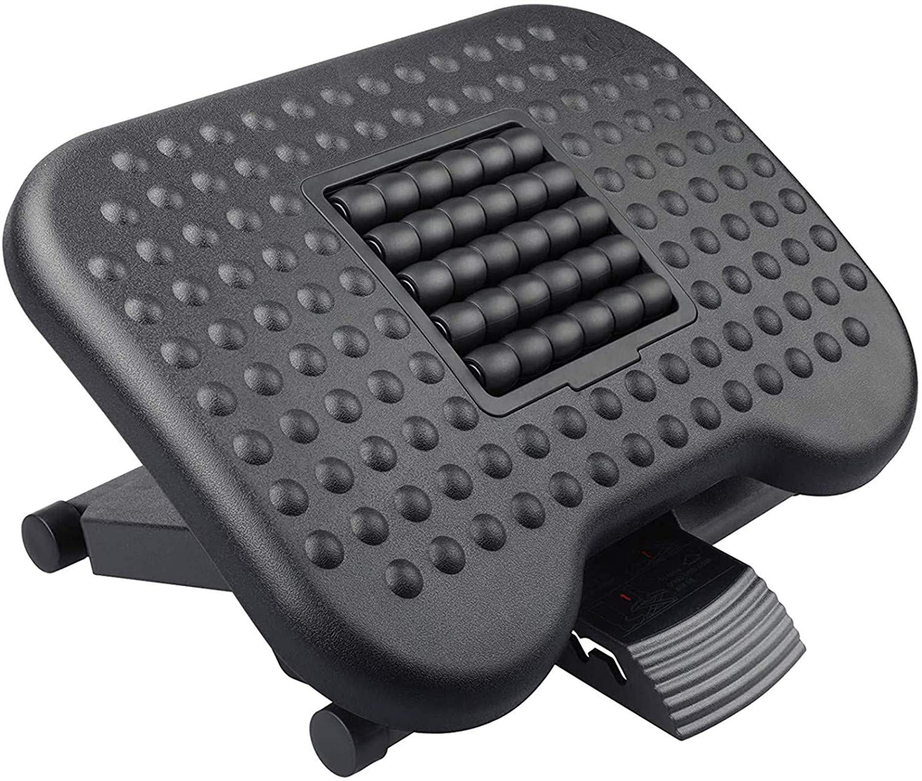 HUANUO Footrest Under Desk - Adjustable Foot Rest with Massage Texture and Roller, Ergonomic Foot Rest with 3 Height Position, 30 Degree Tilt Angle Adjustment for Home, Office
