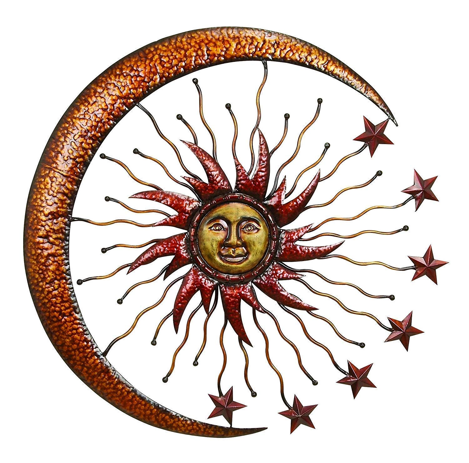 Bellaa 20025 World Best Sun Moon Stars Metal Wall Hanging Garden Art 36''