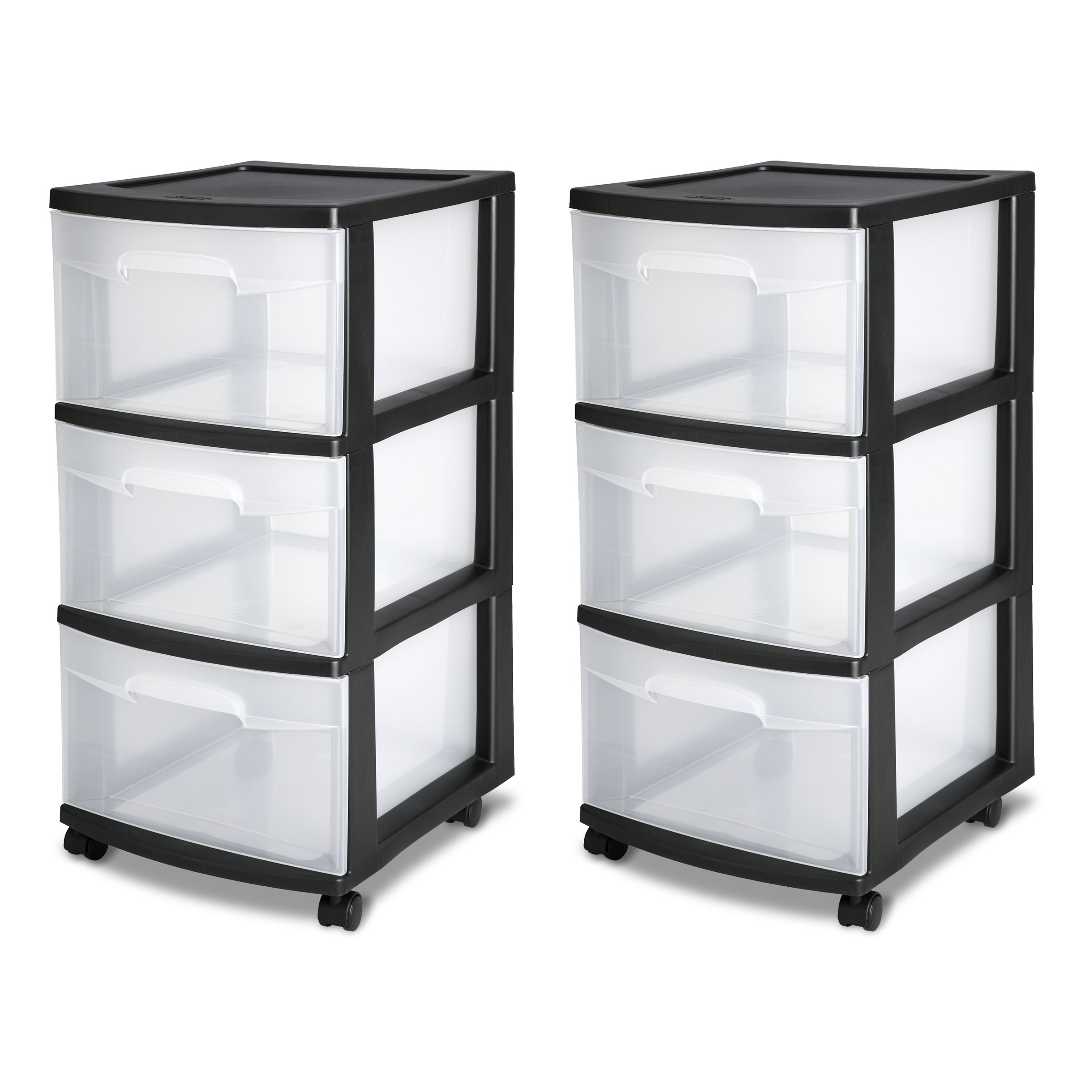 Sterilite 28309002 3 Drawer Cart, Black Frame with Clear Drawers and Black Casters, 2-Pack by STERILITE