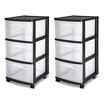 Amazon.com: Sterilite 28309002 3 Drawer Cart, Black Frame With Clear Drawers  And Black Casters, 2 Pack: Home U0026 Kitchen