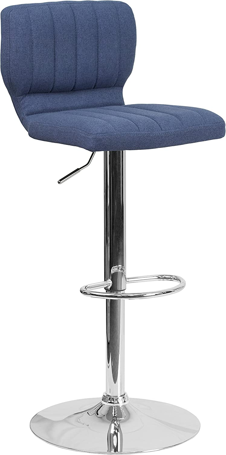 Flash Furniture Contemporary Blue Fabric Adjustable Height Barstool with Vertical Stitch Back and Chrome Base