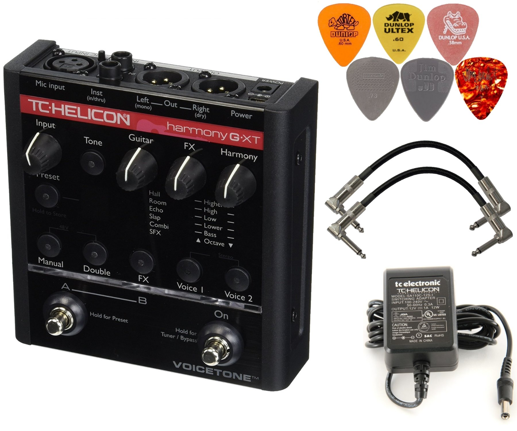 TC Helicon VoiceTone Harmony-G XT Vocal Effects Processor Bundle with 2 Patch Cables and 6 Assorted Dunlop Picks