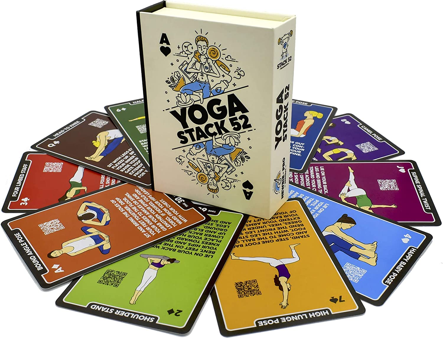 Amazon Com Stack 52 Yoga Exercise Cards Designed By Certified Yoga Instructor Video Instructions Included Beginner To Advanced Poses And Asana Workout Games Improve Fitness And Flexibility Base Deck Sports Outdoors