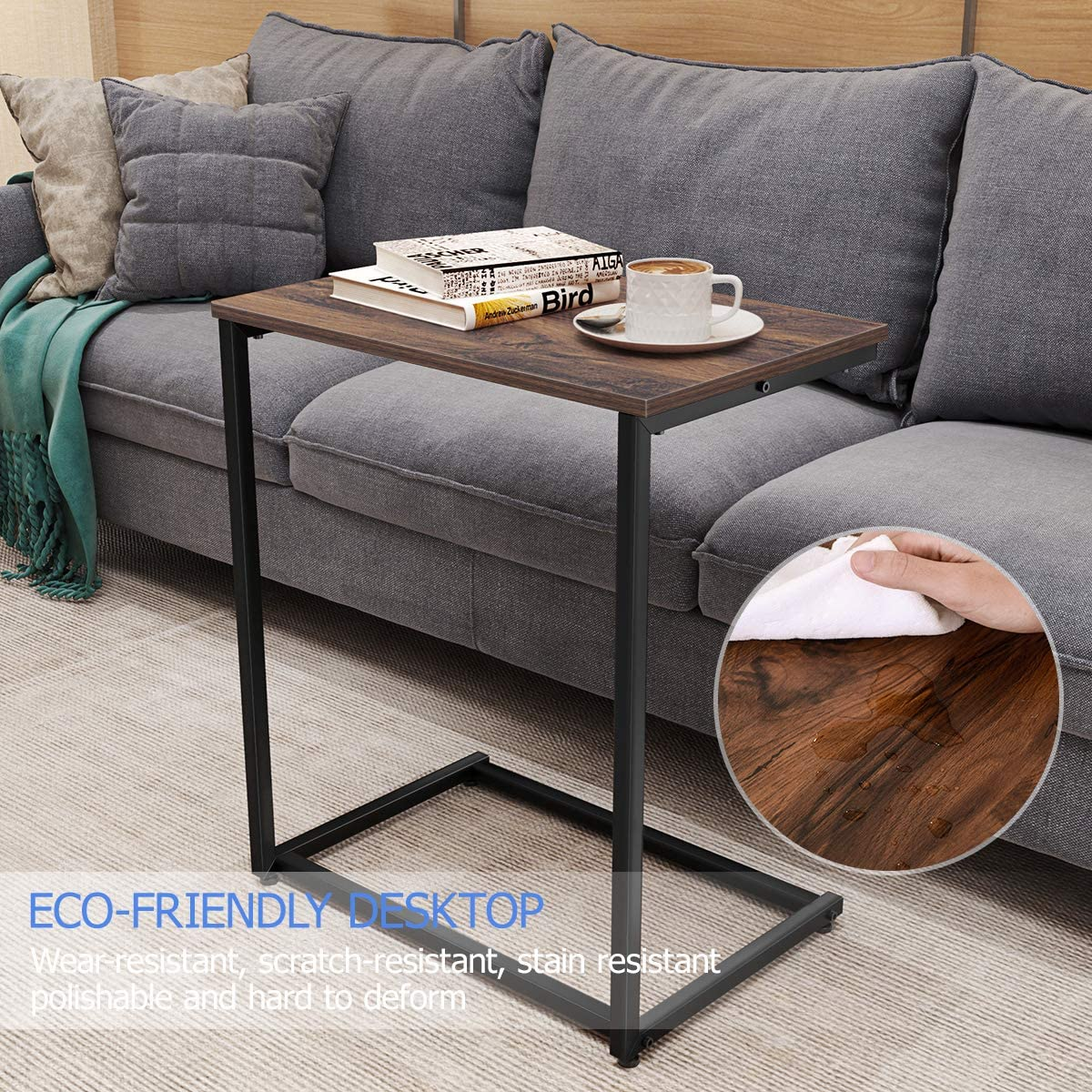 Chair End C Table Sofa Side End Table Wood Finish Steel Construction for Small Space (26-Inch)