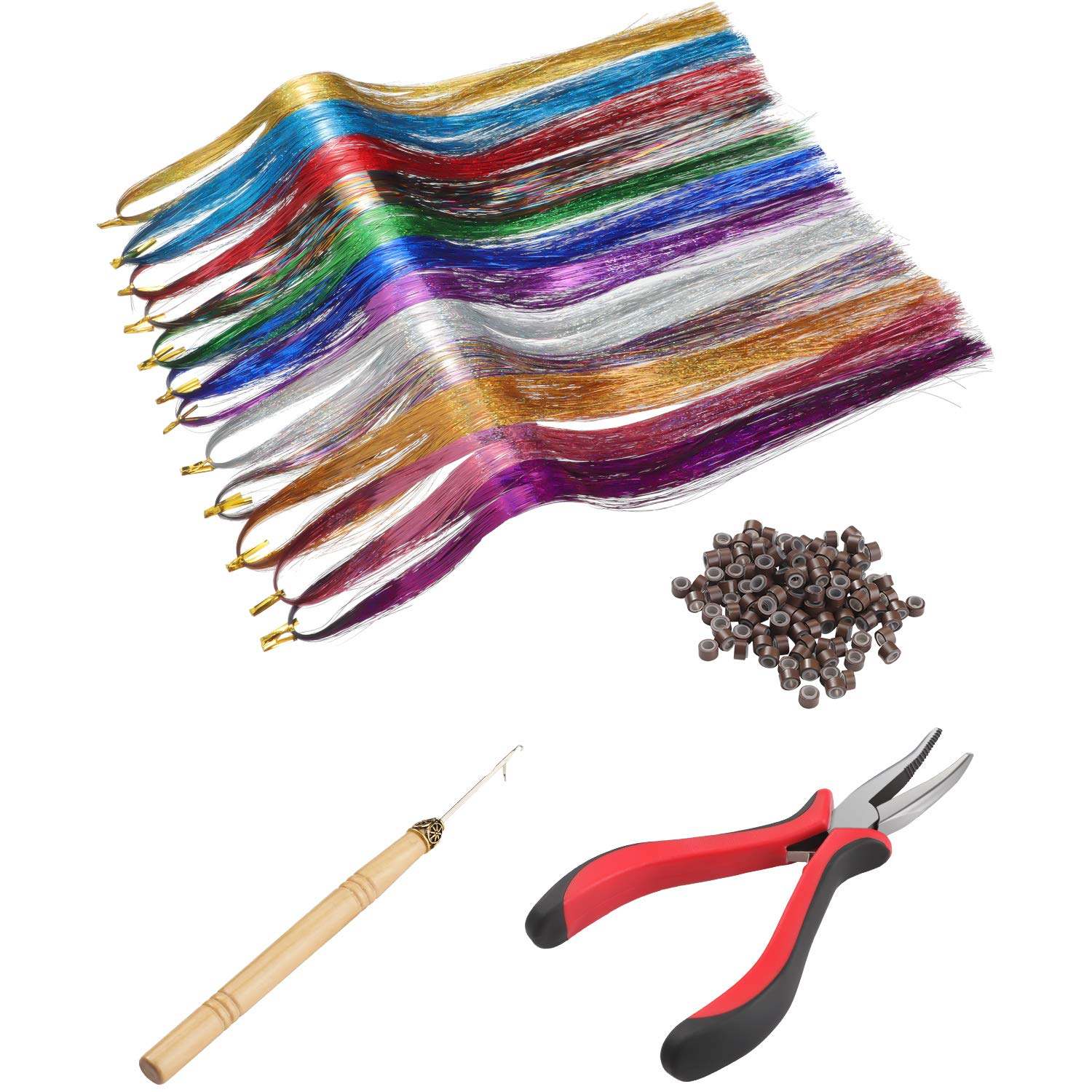 Hair Tinsel Kit With Tools, 2400 Strands Shiny Hair Tinsel Extensions Colorful Synthetic Straight Hairpieces for Women Girls, 12 Colors by WILLBOND