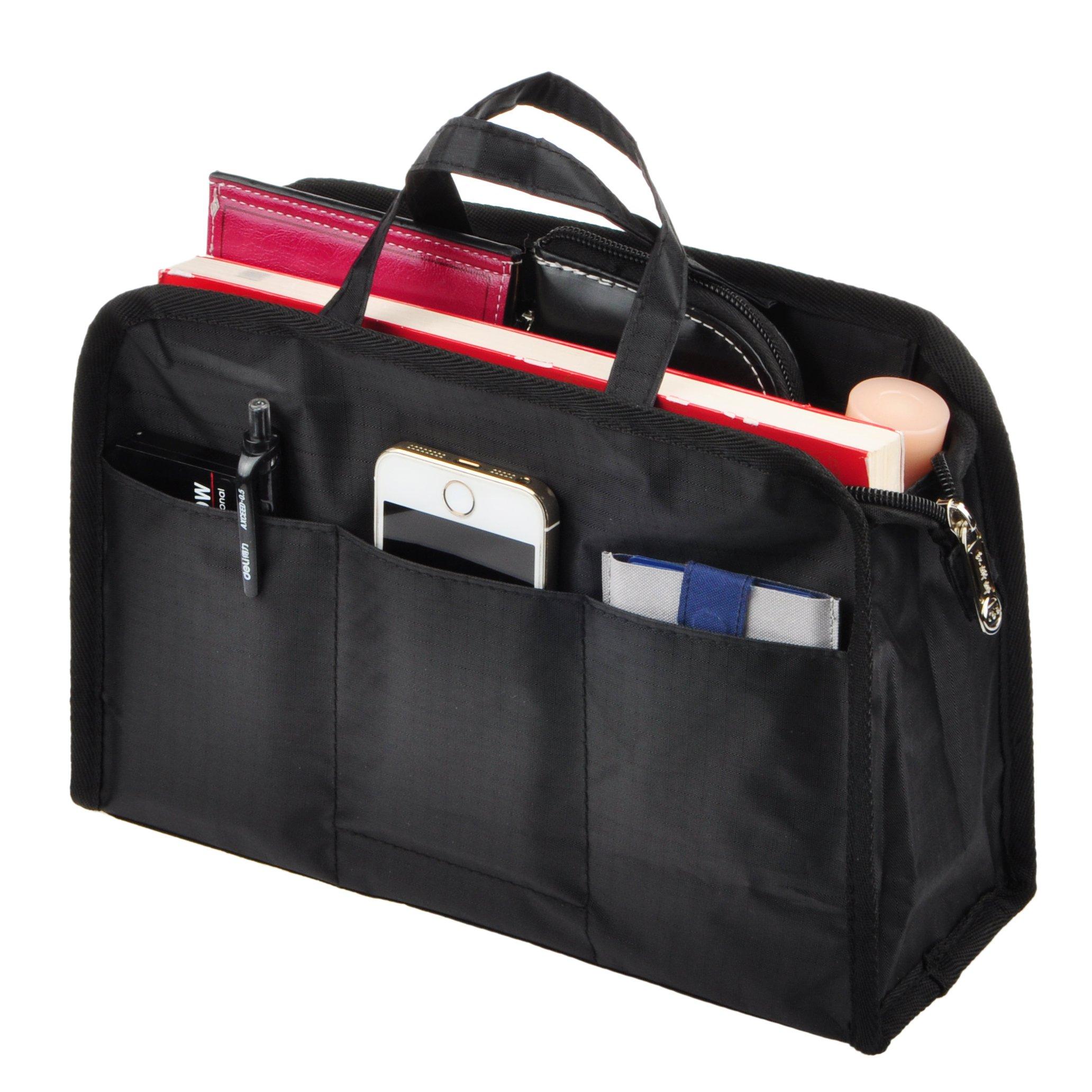 Vercord Sturdy Multi-Pocket Insert Handbag Bag Organizer Water-resistant Large Zipper Bag In Bag, Black Handles