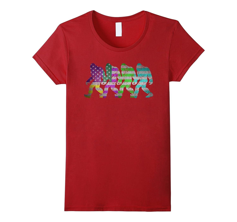 Bigfoot Silhouette Retro American Flag Pop Art Crazy T-shirt