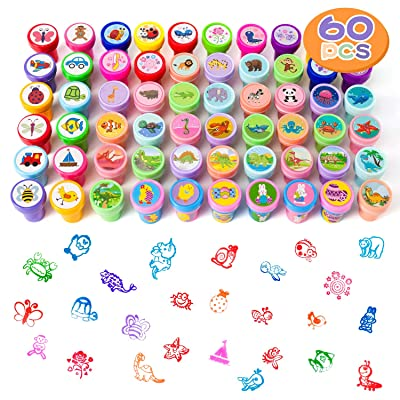 HOOJO 60 Pieces Easter Assorted Stamps for Kids Boys Girls Easter Gifts, Easter Egg Stuffers, Party Favor and Teacher Stampers: Toys & Games
