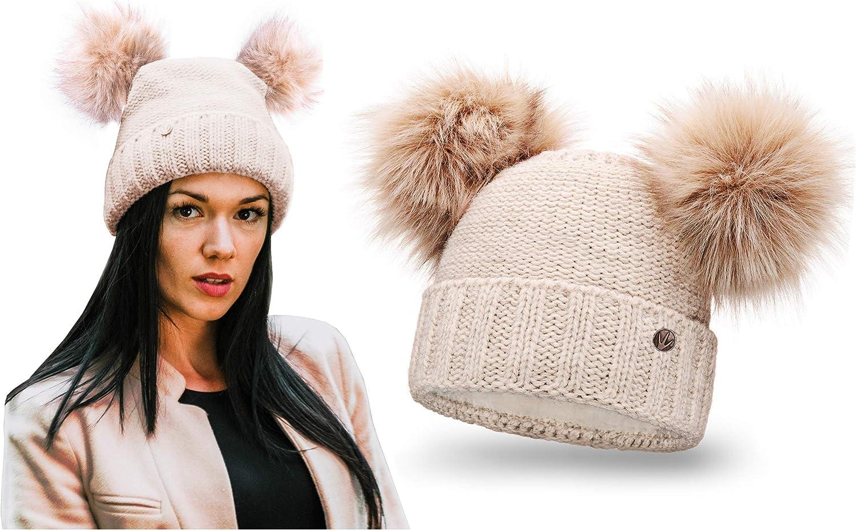 Femme fausse fourrure pom pom bobble hat-grosses mailles//idée cadeau//bonnet