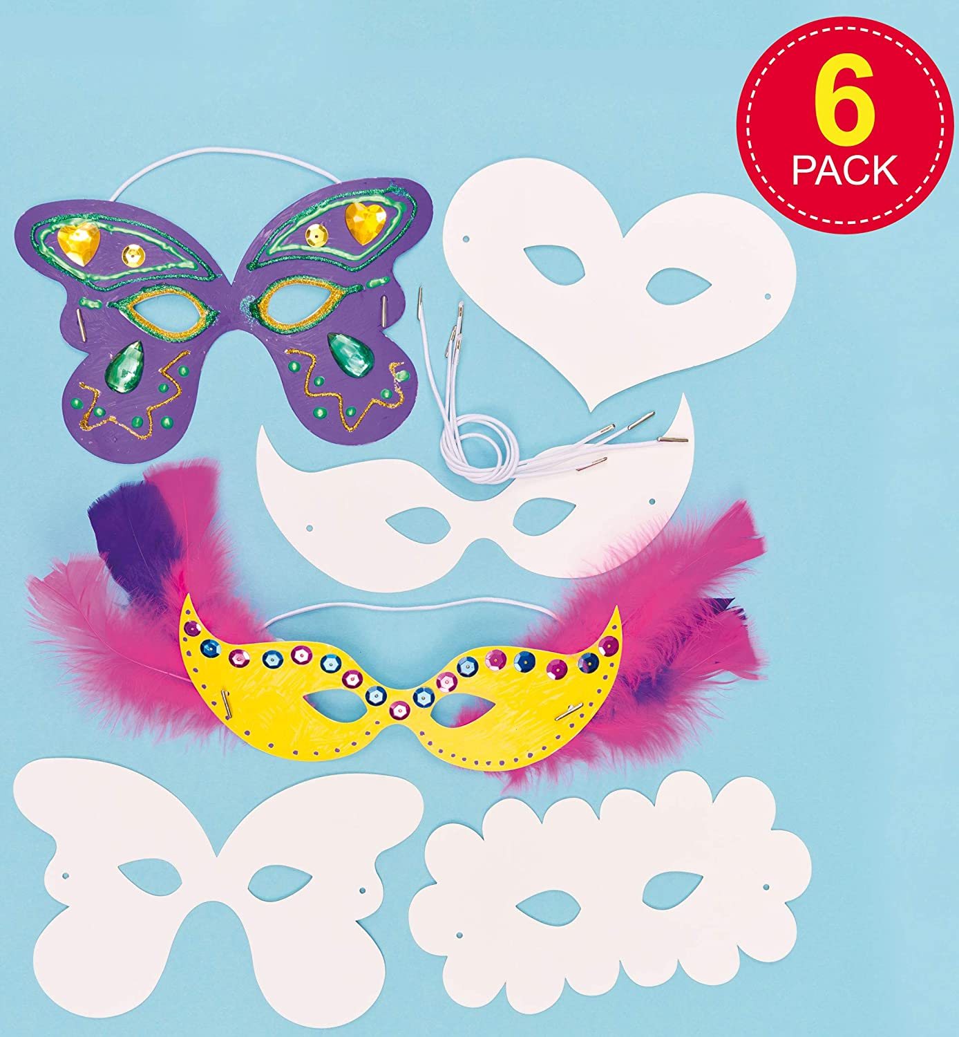 16 Assorted White Card Craft Masks for Kids to Decorate for Crafts