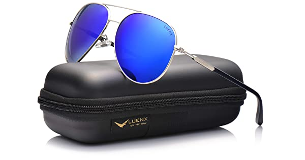 a210d4d27 LUENX Mens Womens Aviator Sunglasses Polarized Mirror with Case - UV 400  Protection 60mm Dark Blue
