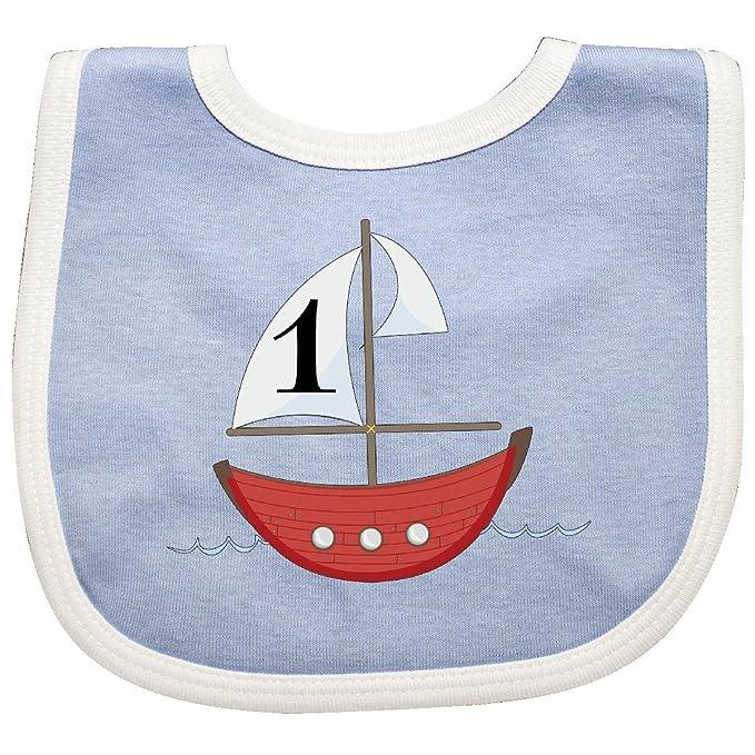 Amazon.com  Inktastic - First Birthday-1 Year Old red boat Baby Bib ... 1786c6c81