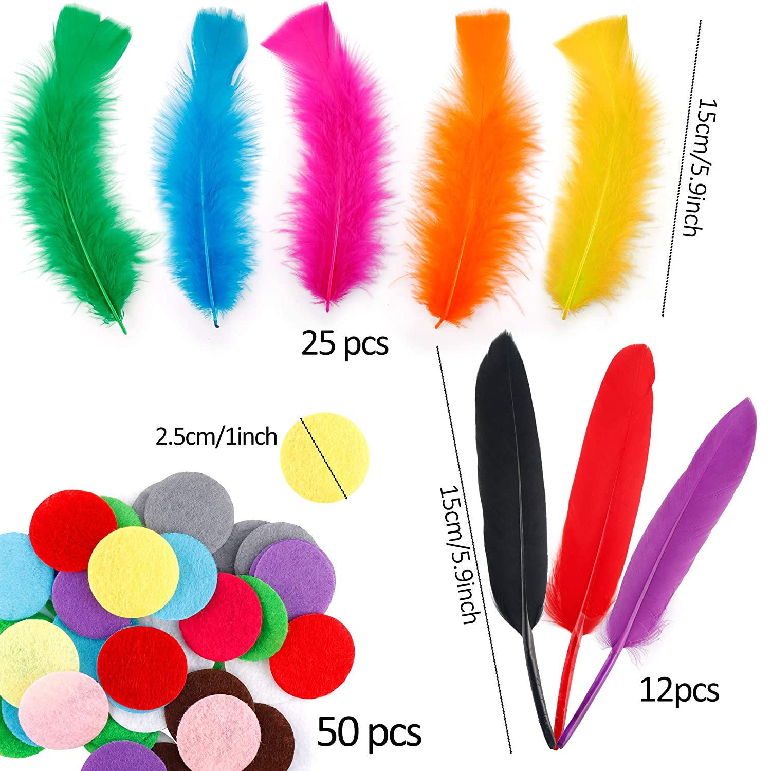 JANYUN Pipe Cleaners Craft Supplies Kit,Includes Chenille Stems Wiggle Googly Eyes Pom Poms Feathers for DIY