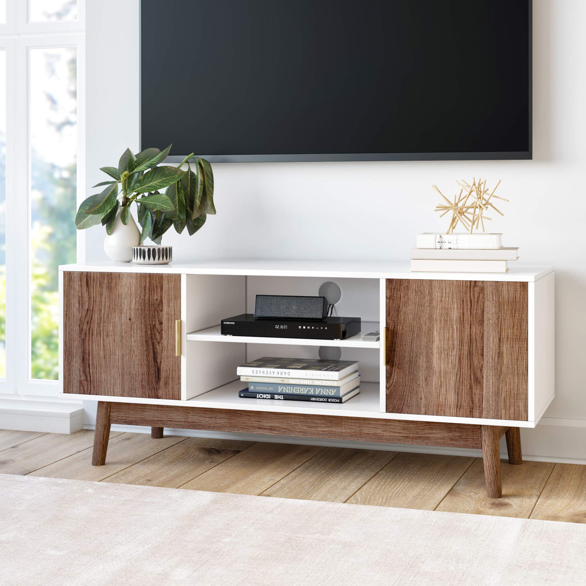 Nathan James 74403 Wesley Scandinavian TV Stand Media Console with Wooden Frame and Cabinet Doors, White/Rustic Oak by Nathan James