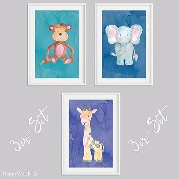 Kinderbilder fürs kinderzimmer giraffe  HappyWords 3er-SET Wandbilder Tiere   Affe + Giraffe + Elefant ...