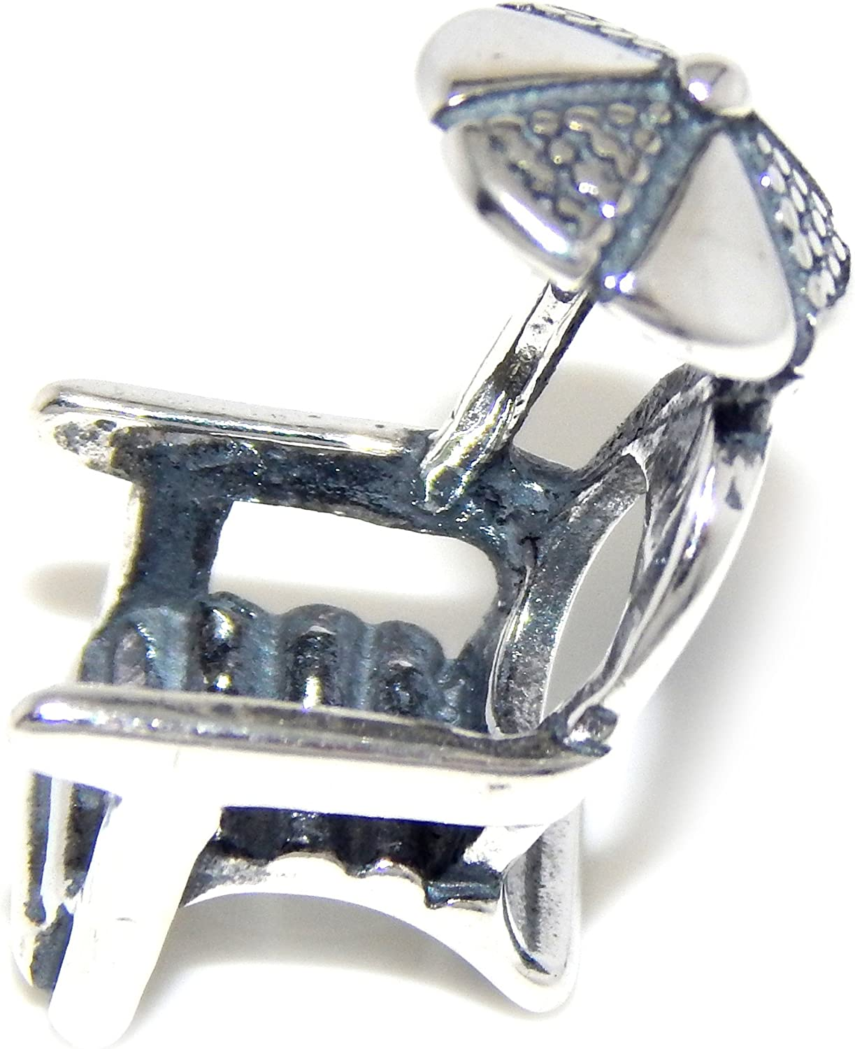 Solid 925 Sterling Silver Beach Chair w// Umbrella Charm Bead 3000 for European Snake Chain Bracelets