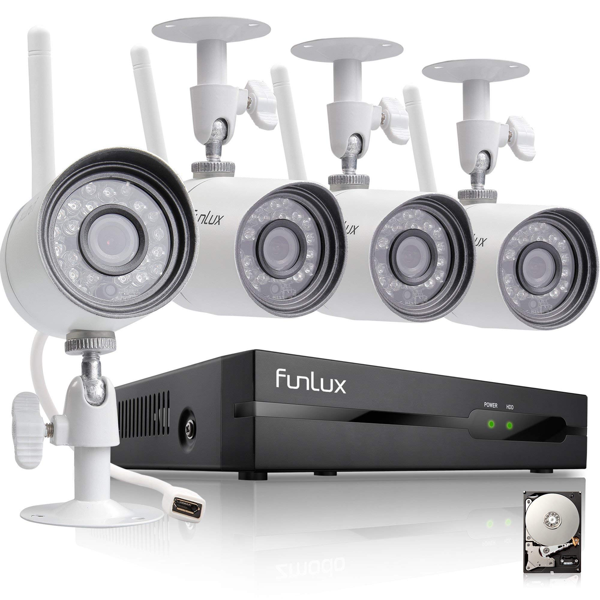 Funlux 4 Channel 1080p HDMI NVR 4 720p HD Indoor Outdoor Wireless Home Security Camera System 500GB Hard Drive (Renewed) by Funlux