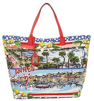 Blau Tote Bag Rot Cannes Strand In Trims Metall Mit Shopper Perfekt Damen Und Leder Mehrfarbig Details Canvas Dolceamp; Gold Als Groß Gabbana cARj34Lq5